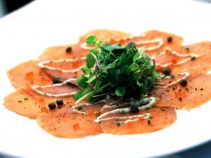 carpaccio salmon crudo